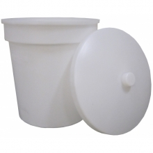 Cylindrisk konisk beholder med låg.